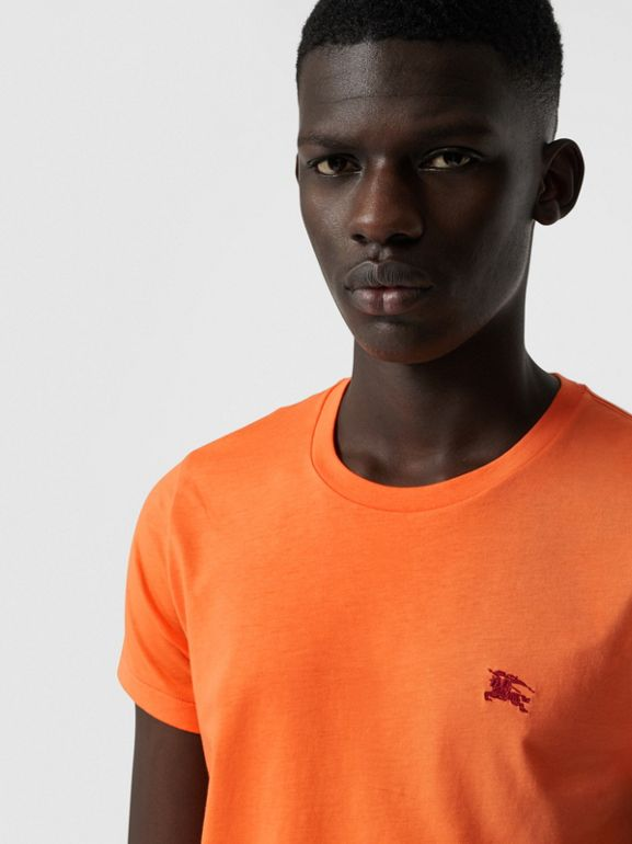 Cotton Jersey T-shirt in Bright Orange - Men | Burberry - cell image 1