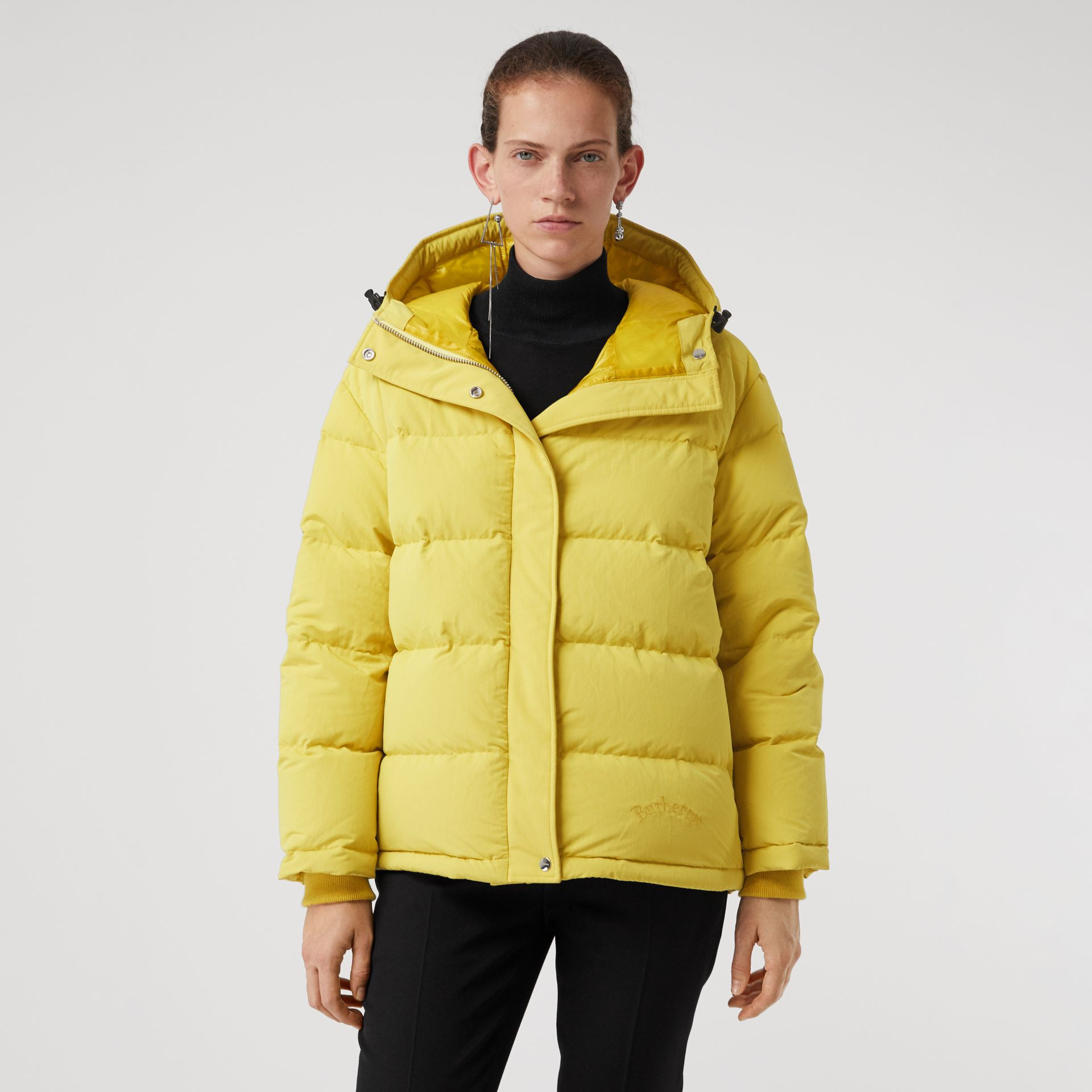 Archive Logo Down-filled Hooded Puffer Jacket in Dandelion - Women | Burberry Australia - gallery image 5