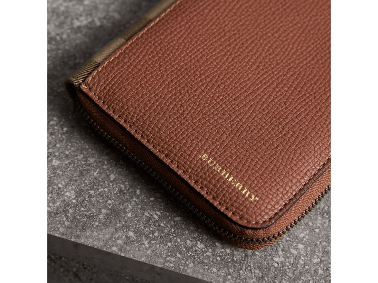 House Check and Grainy Leather Ziparound Wallet in Chestnut Brown - Men | Burberry - cell image 1