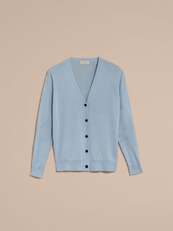 Check Detail Merino Wool Cardigan Pale Cornflower Blue - cell image 3