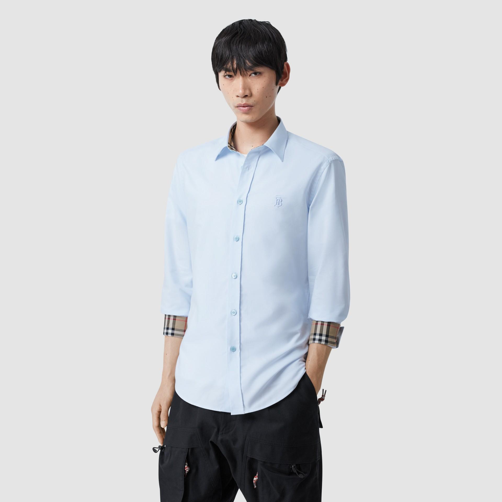 Monogram Motif Cotton Oxford Shirt in White - Men | Burberry - gallery image 5