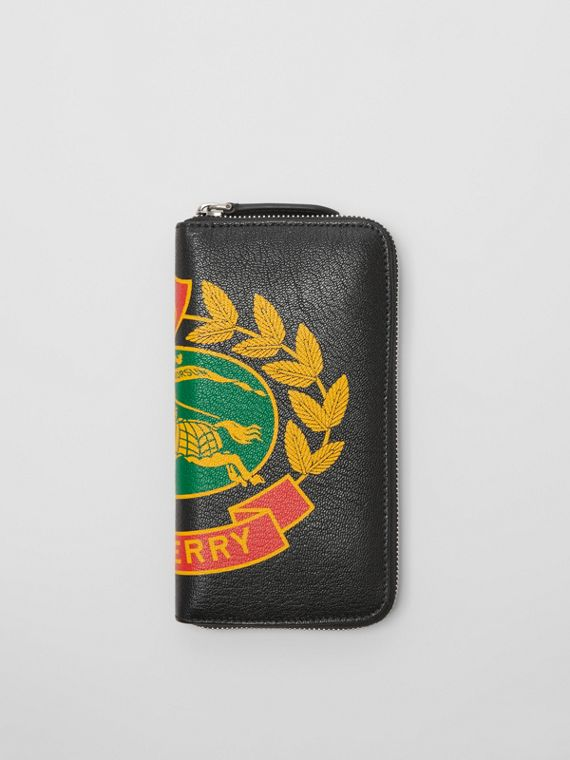 Crest Print Leather Ziparound Wallet in Rust Red