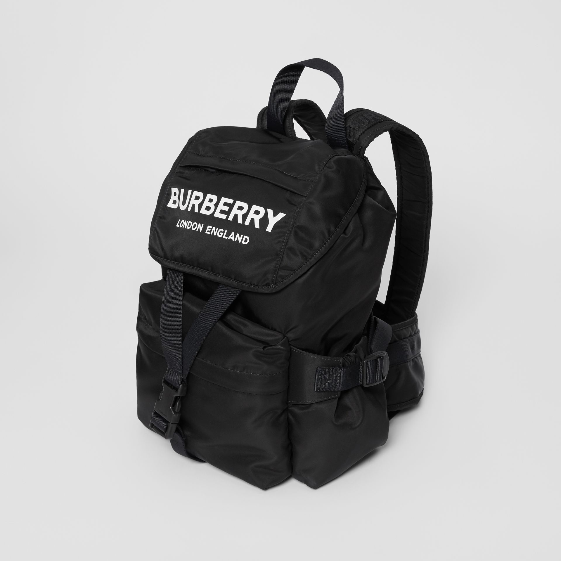 Logo Print Nylon Backpack in Black - Women | Burberry United Kingdom - gallery image 3