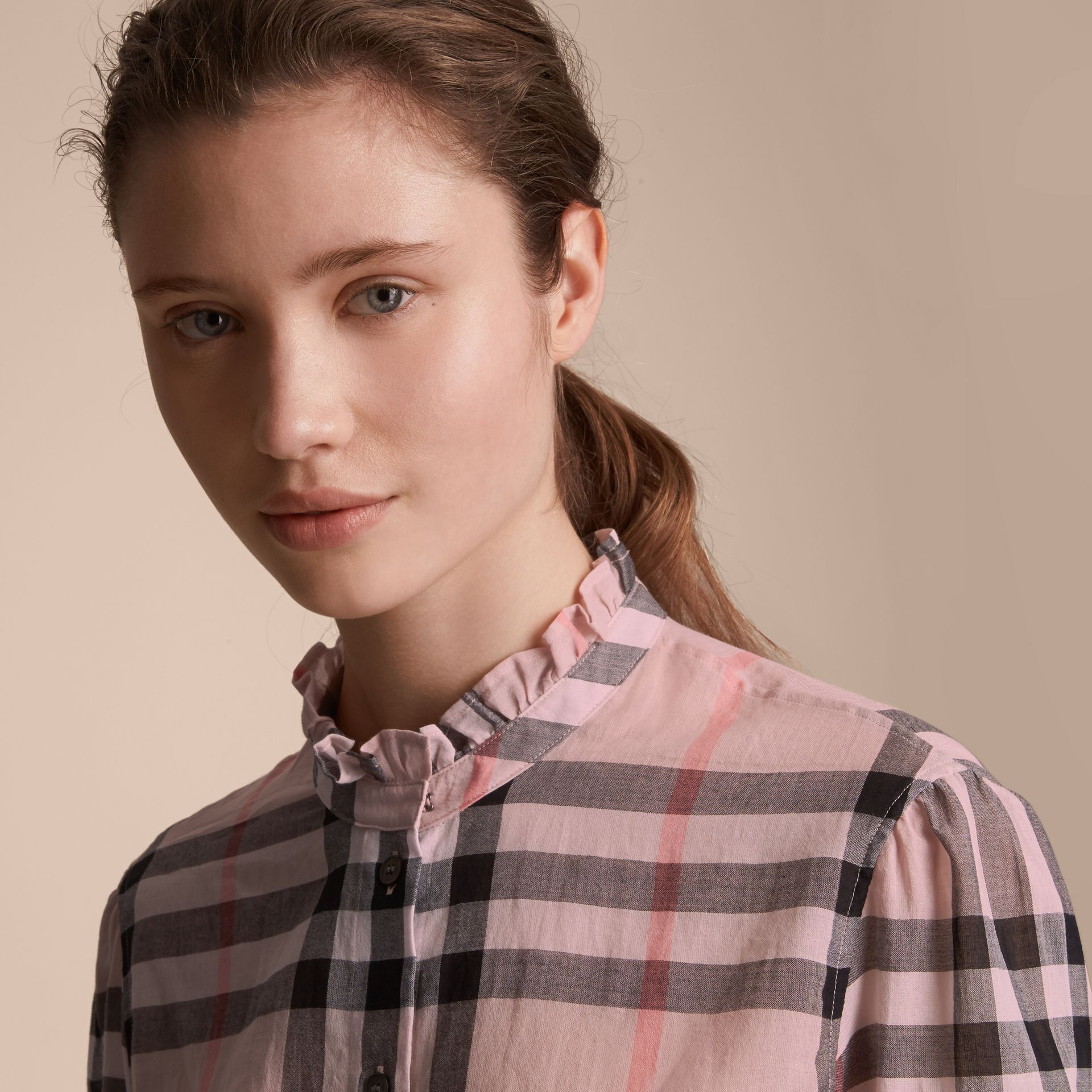 Ruffle Detail Check Cotton Shirt in Vintage Pink - Women | Burberry - gallery image 5