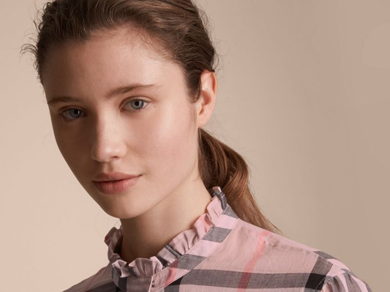 Ruffle Detail Check Cotton Shirt in Vintage Pink - Women | Burberry - cell image 4