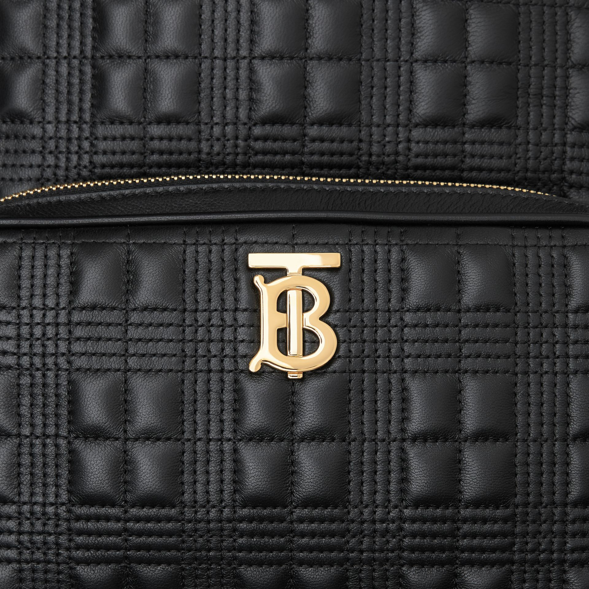 Quilted Check Lambskin Backpack in Black - Women | Burberry - gallery image 1