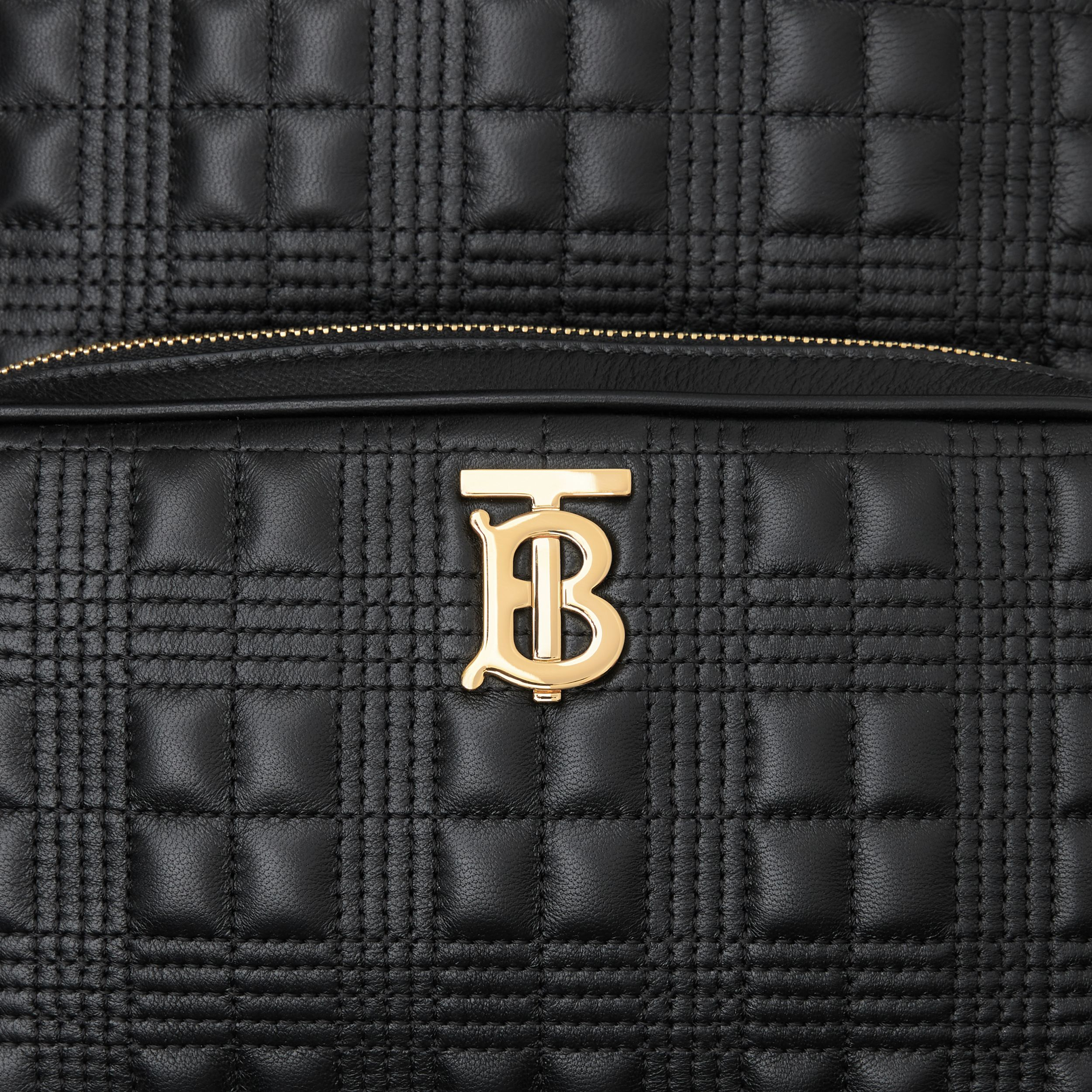 Quilted Check Lambskin Backpack in Black - Women | Burberry - 2