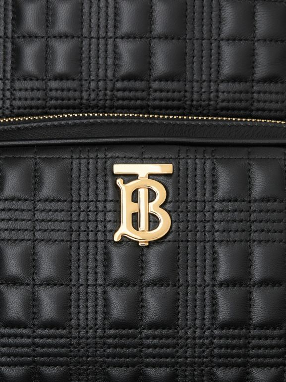 Quilted Check Lambskin Backpack in Black - Women | Burberry - cell image 1