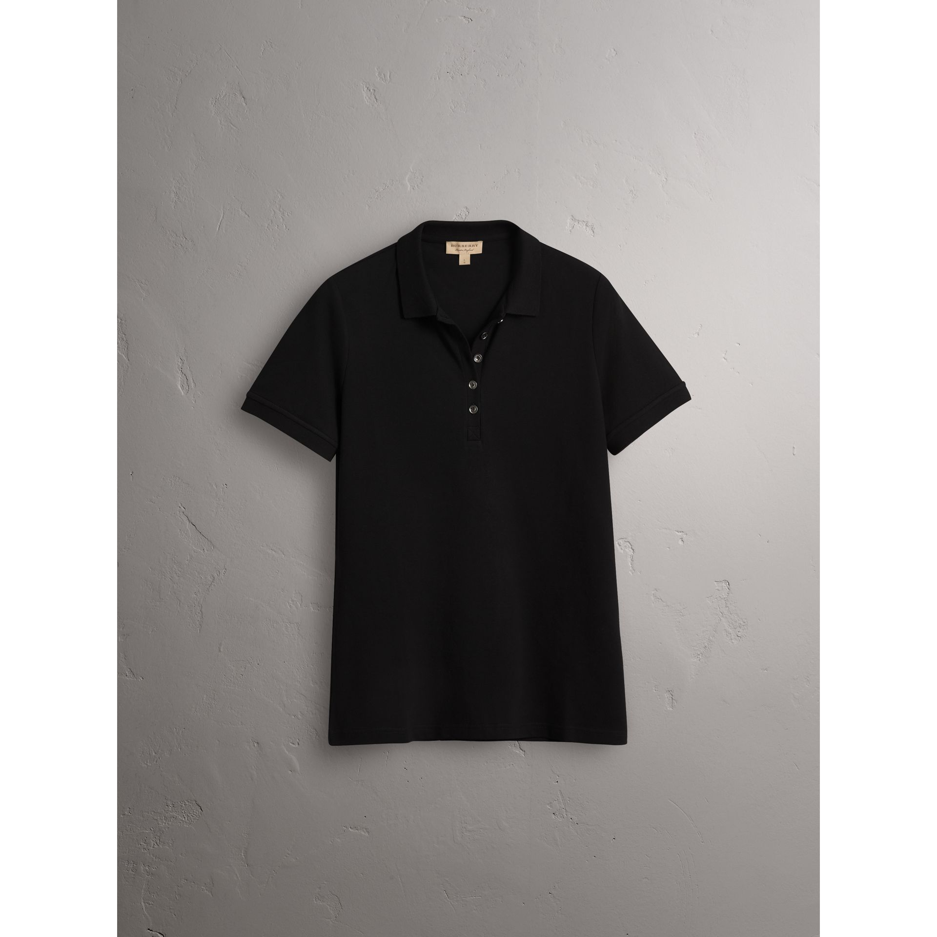 Check Trim Stretch Cotton Piqué Polo Shirt in Black - Women | Burberry United States - gallery image 3