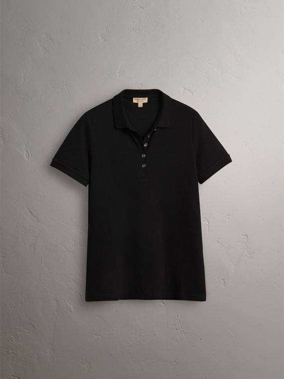 Check Trim Stretch Cotton Piqué Polo Shirt in Black - Women | Burberry United States - cell image 3