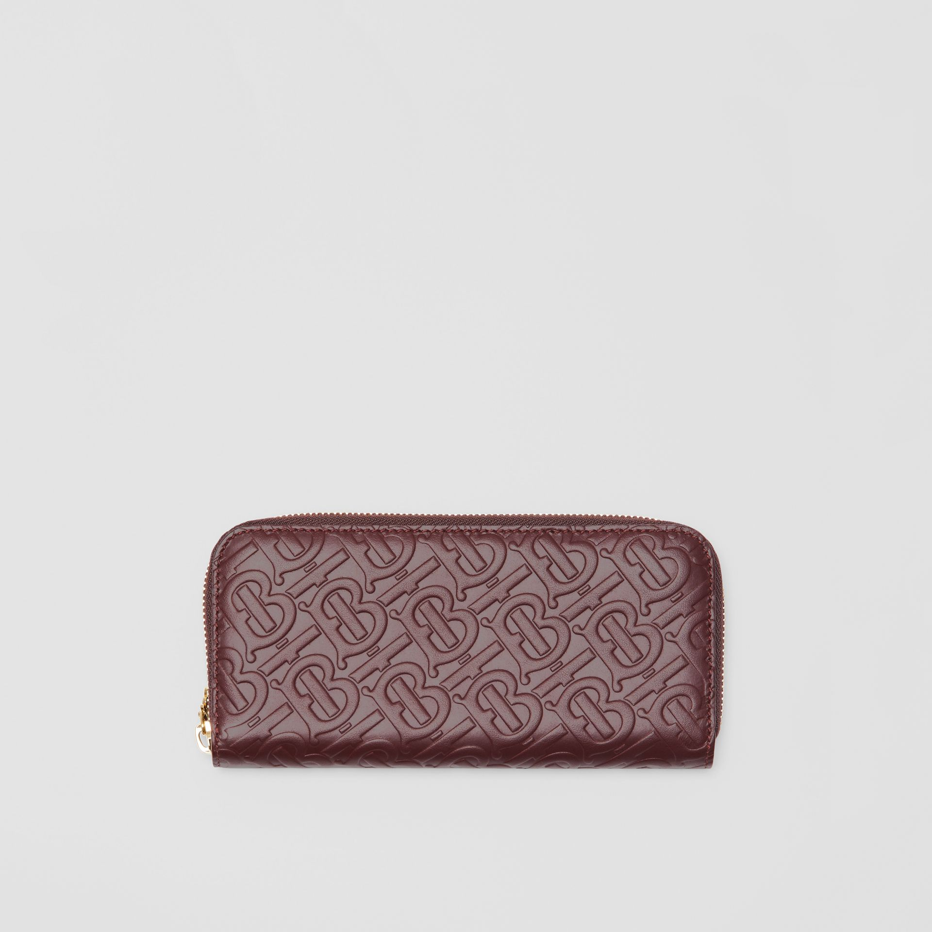 Monogram Leather Ziparound Wallet in Oxblood - Women | Burberry - gallery image 0