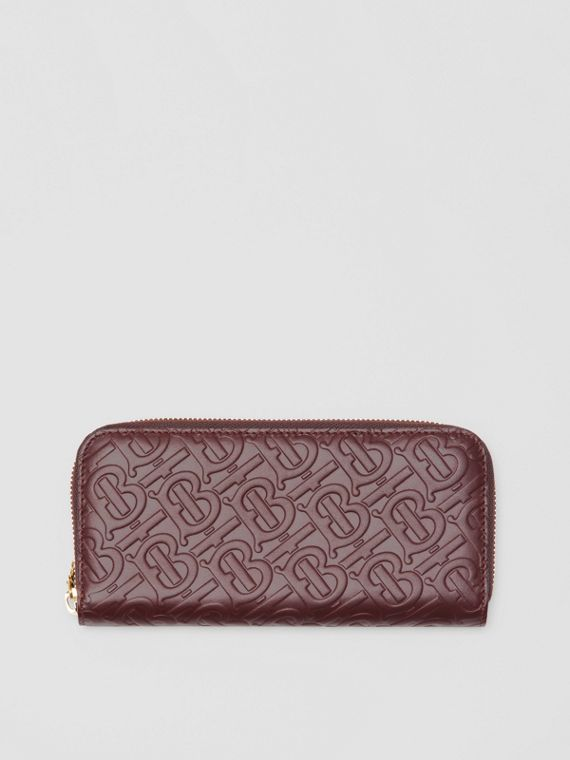 Monogram Leather Ziparound Wallet in Oxblood