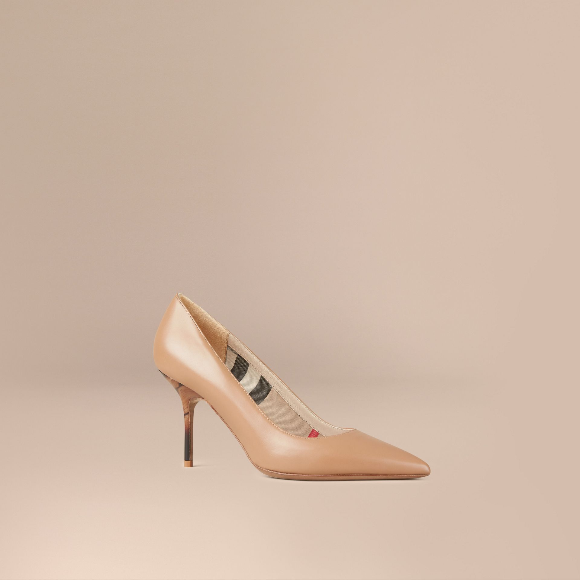 Nude Hand-painted Point-toe Leather Pumps - gallery image 1