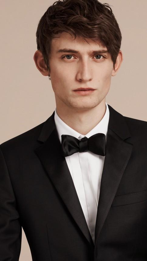 Black Slim Fit Wool Mohair Half-canvas Tuxedo - Image 5