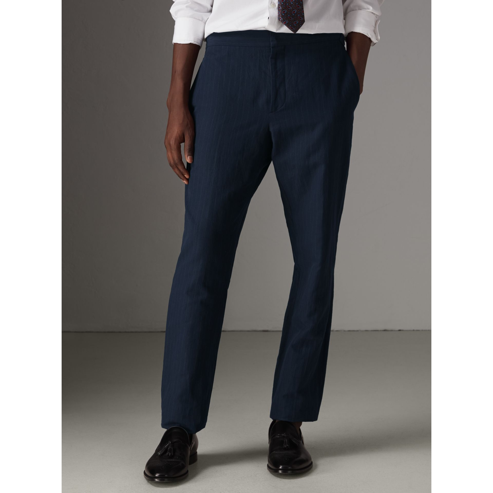 Slim Fit Pinstripe Ramie Cotton Suit in Navy - Men | Burberry United Kingdom - gallery image 7