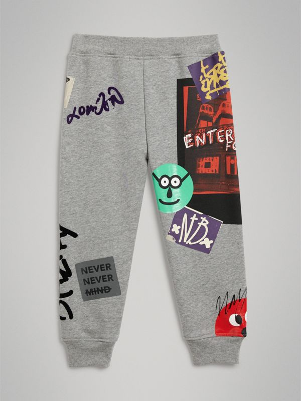 London Street Art Print Cotton Sweatpants in Grey Melange | Burberry - cell image 3