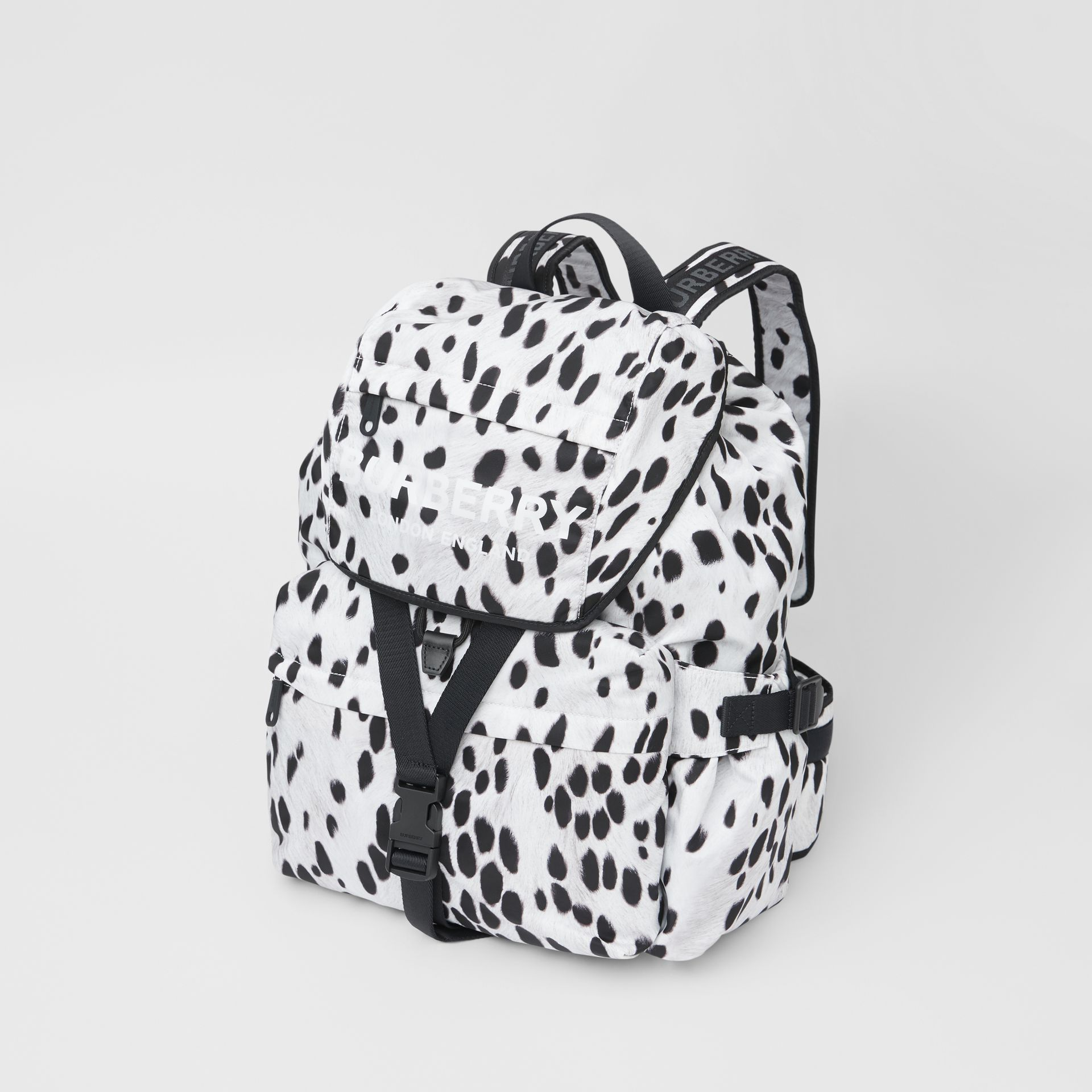 Logo and Dalmatian Print Nylon Backpack in Black - Women | Burberry United Kingdom - gallery image 3