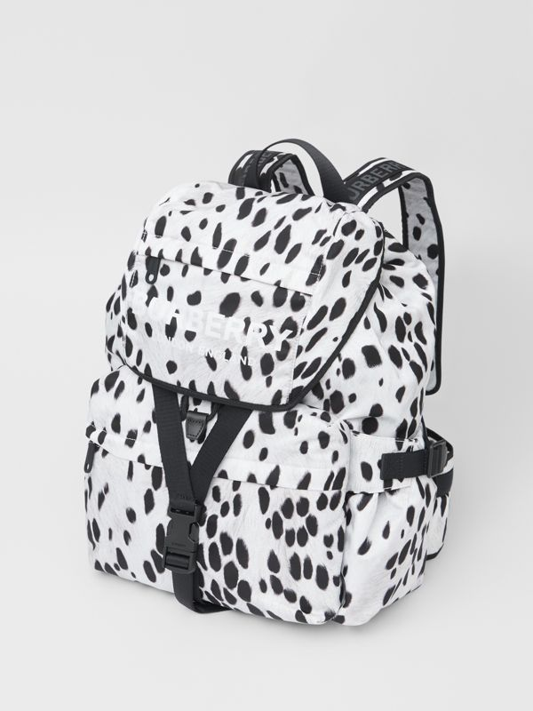 Logo and Dalmatian Print Nylon Backpack in Black - Women | Burberry - cell image 3