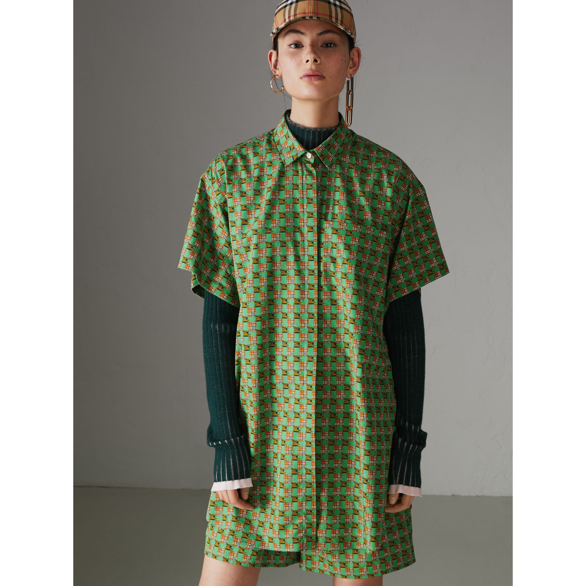 Equestrian Check Print Cotton Longline Shirt in Dark Forest Green - Women | Burberry - gallery image 4