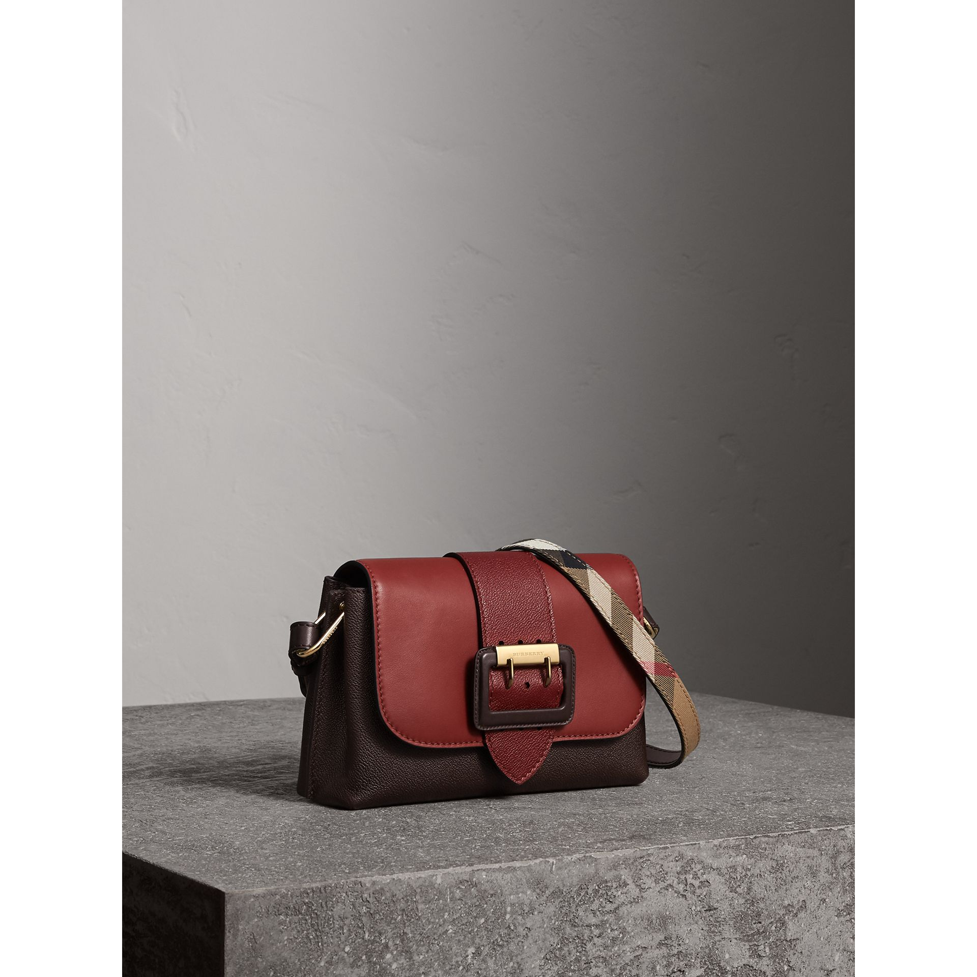 The Buckle Crossbody Bag in Colour-block Leather in Burgundy - Women | Burberry - gallery image 8
