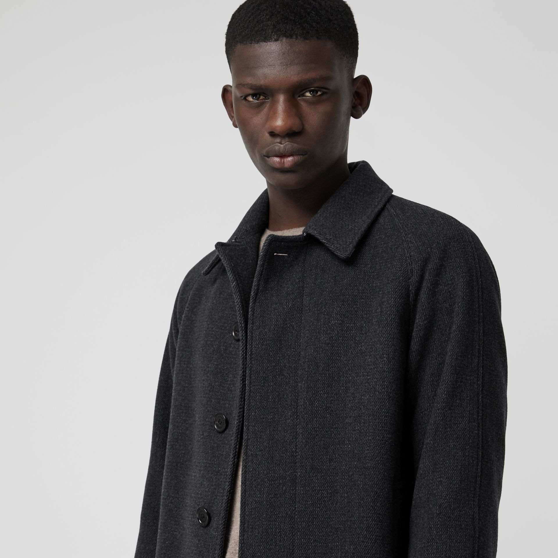 Wool Cashmere Blend Car Coat in Charcoal - Men | Burberry - gallery image 3