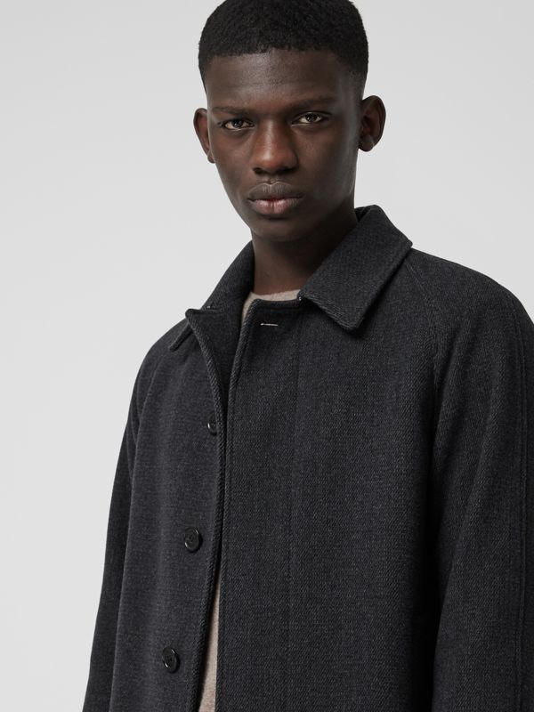 Wool Cashmere Blend Car Coat in Charcoal - Men | Burberry Hong Kong - cell image 3