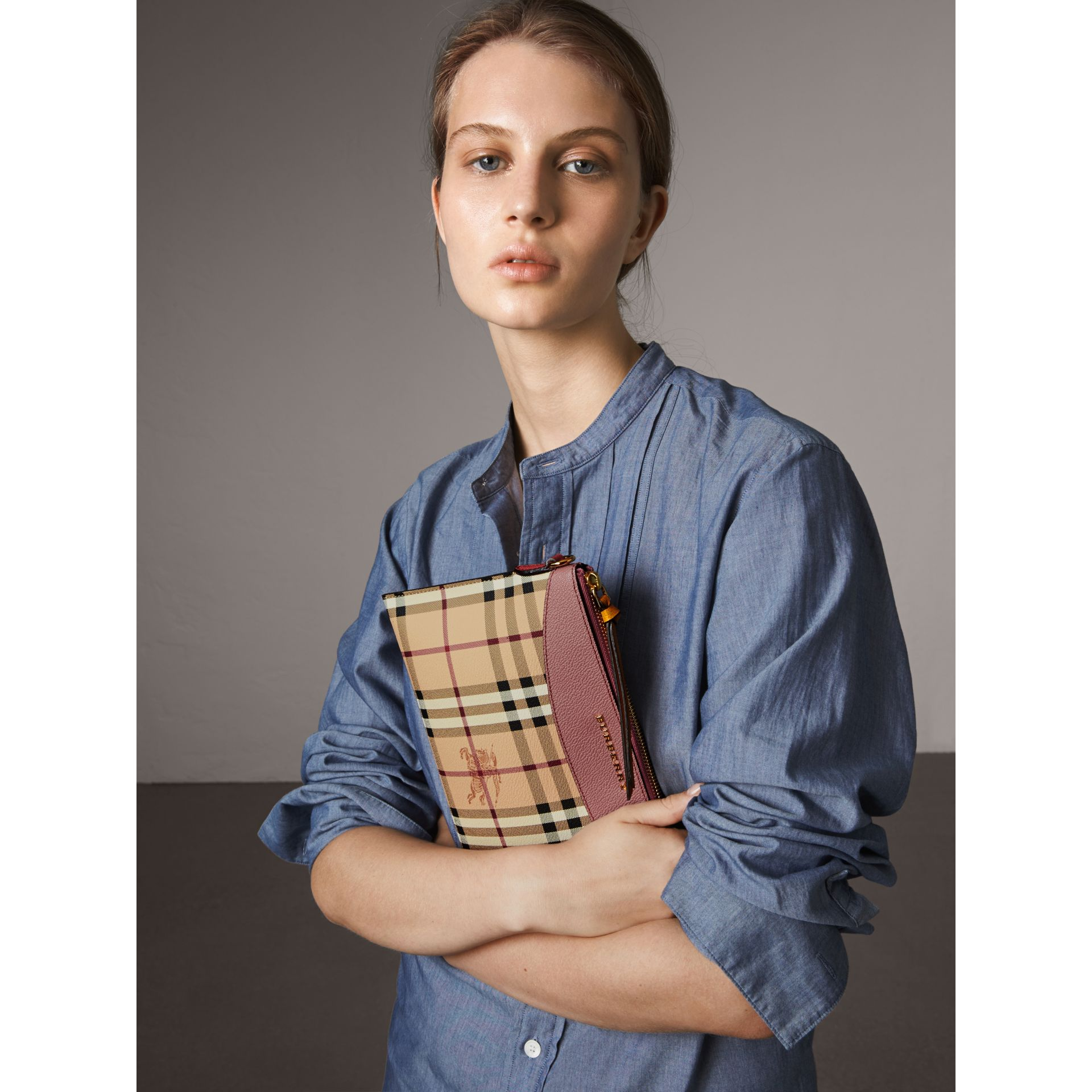Haymarket Check and Two-tone Leather Clutch Bag in Dusty Pink/multicolour - Women | Burberry - gallery image 3
