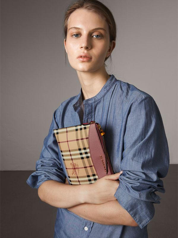 Haymarket Check and Two-tone Leather Clutch Bag in Dusty Pink/multicolour - Women | Burberry - cell image 3