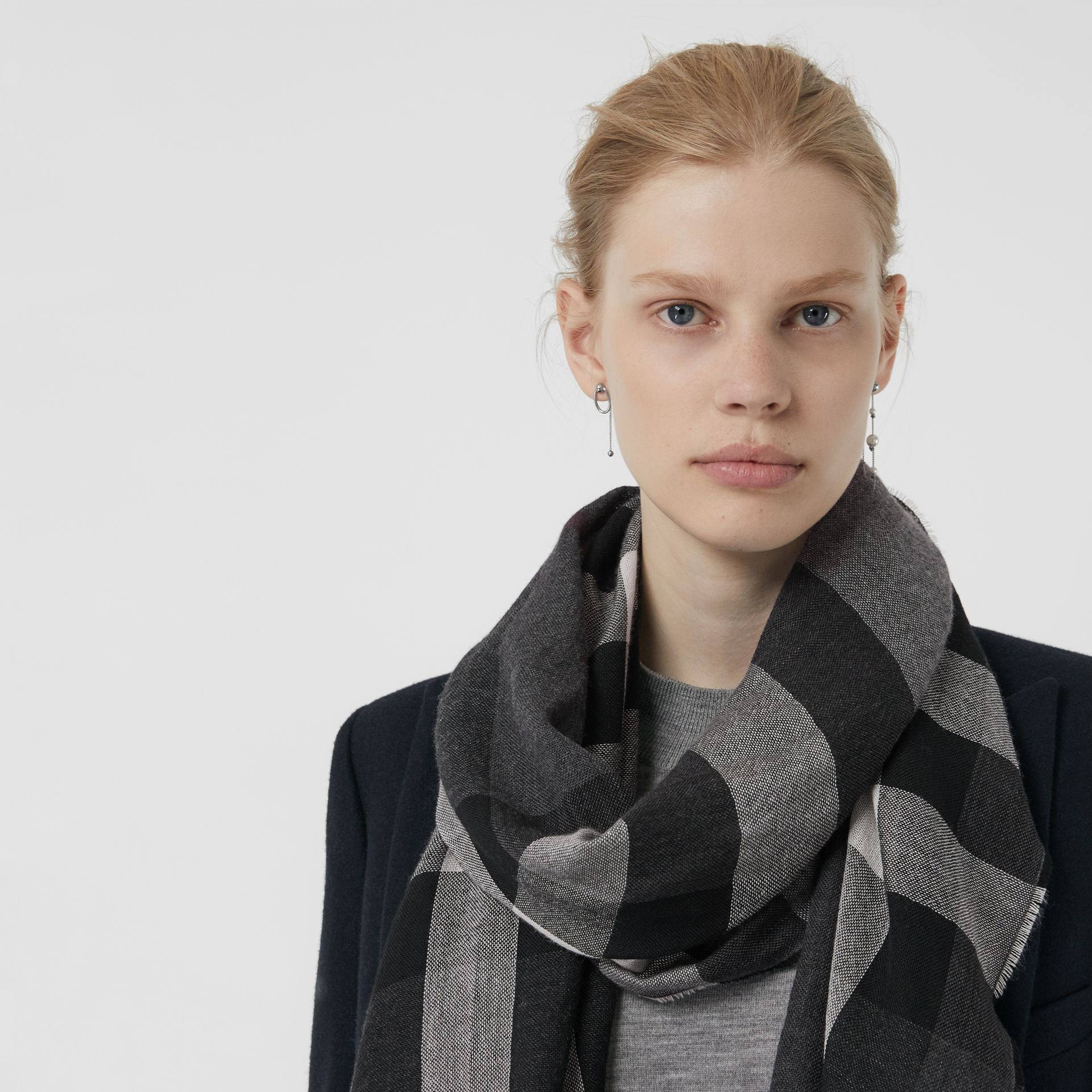 Lightweight Check Wool Cashmere Scarf in Charcoal | Burberry Australia - gallery image 3