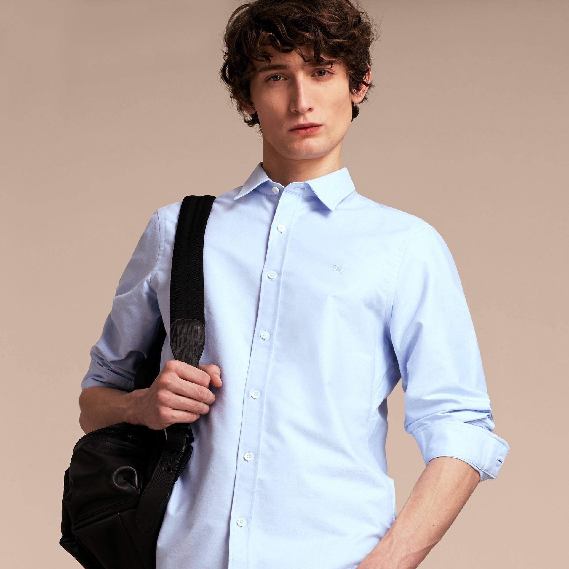 Oxford Cotton Shirt with Regimental Cuff Detail Cornflower Blue - gallery image 7