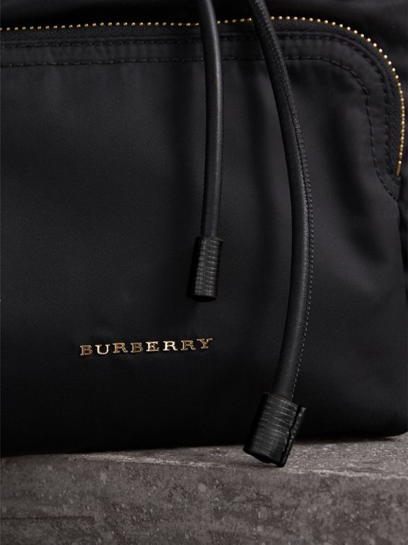 The Medium Rucksack in Two-tone Nylon and Leather in Black/gold - Women | Burberry - cell image 1