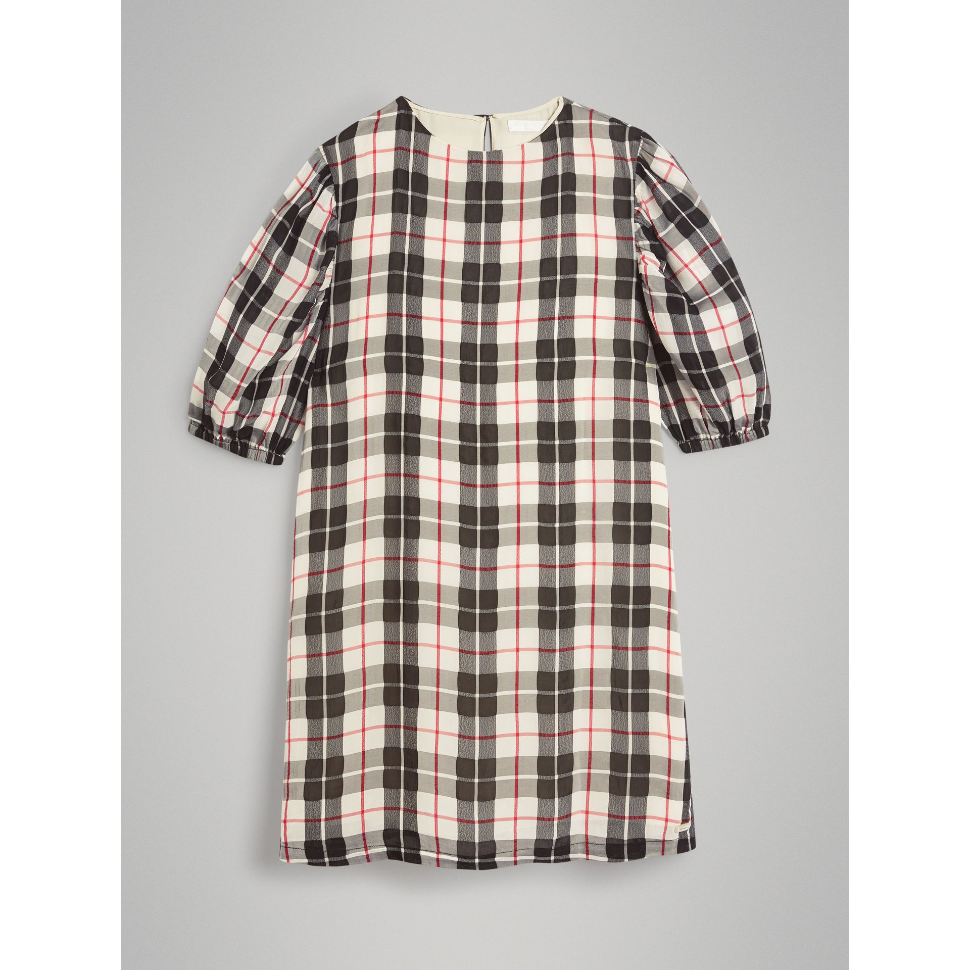 Gathered Sleeve Check Dress in Chalk White - Girl | Burberry - gallery image 0