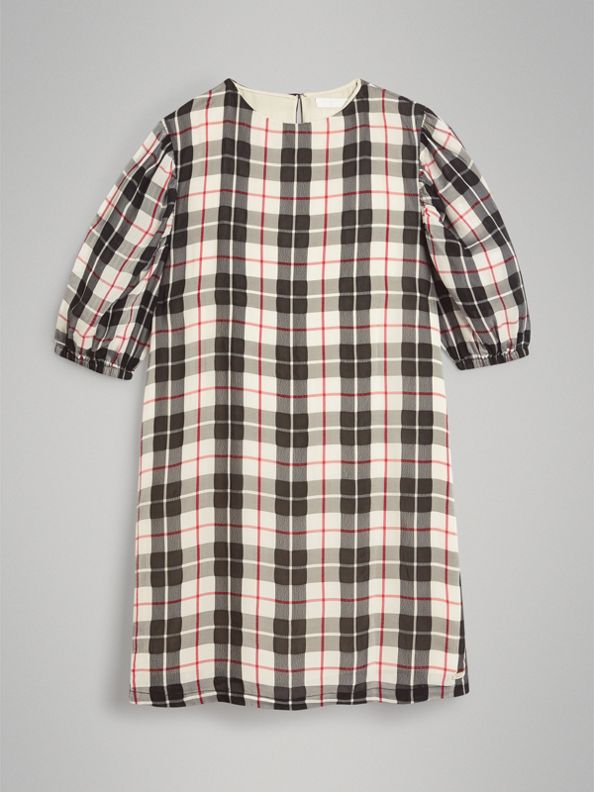 Gathered Sleeve Check Dress in Chalk White
