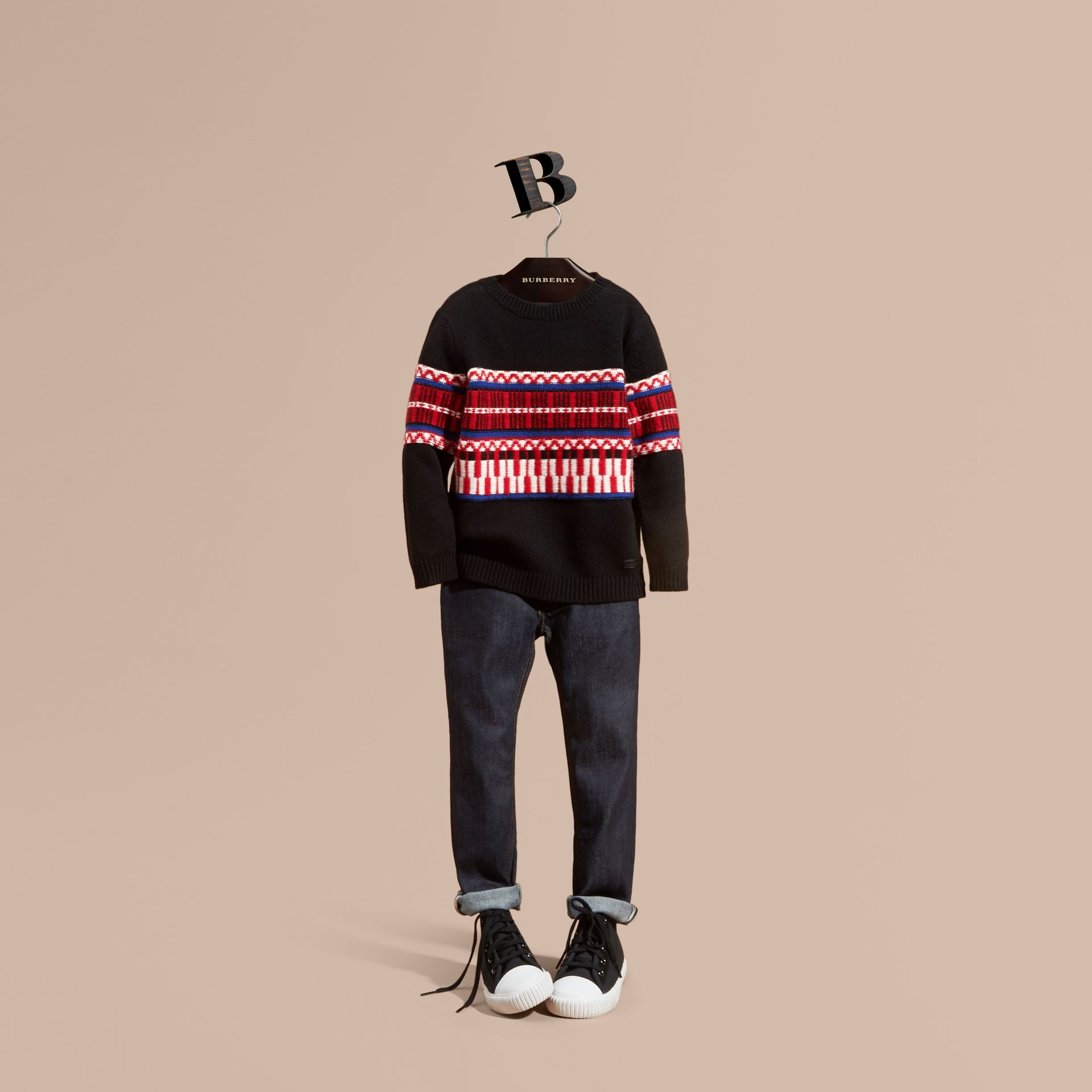 Parade red Fair Isle Wool Cashmere Sweater - gallery image 1