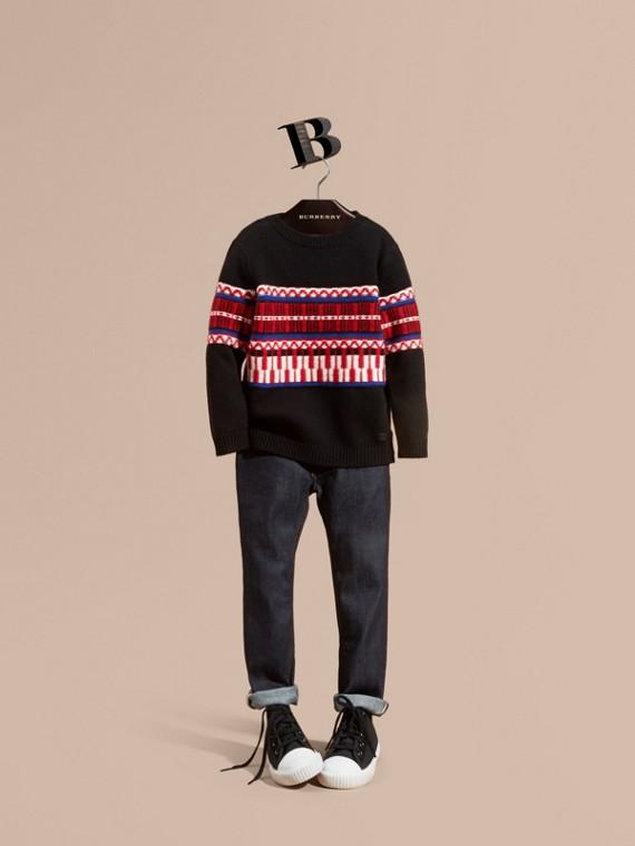 Pullover in lana e cashmere con motivo Fair Isle