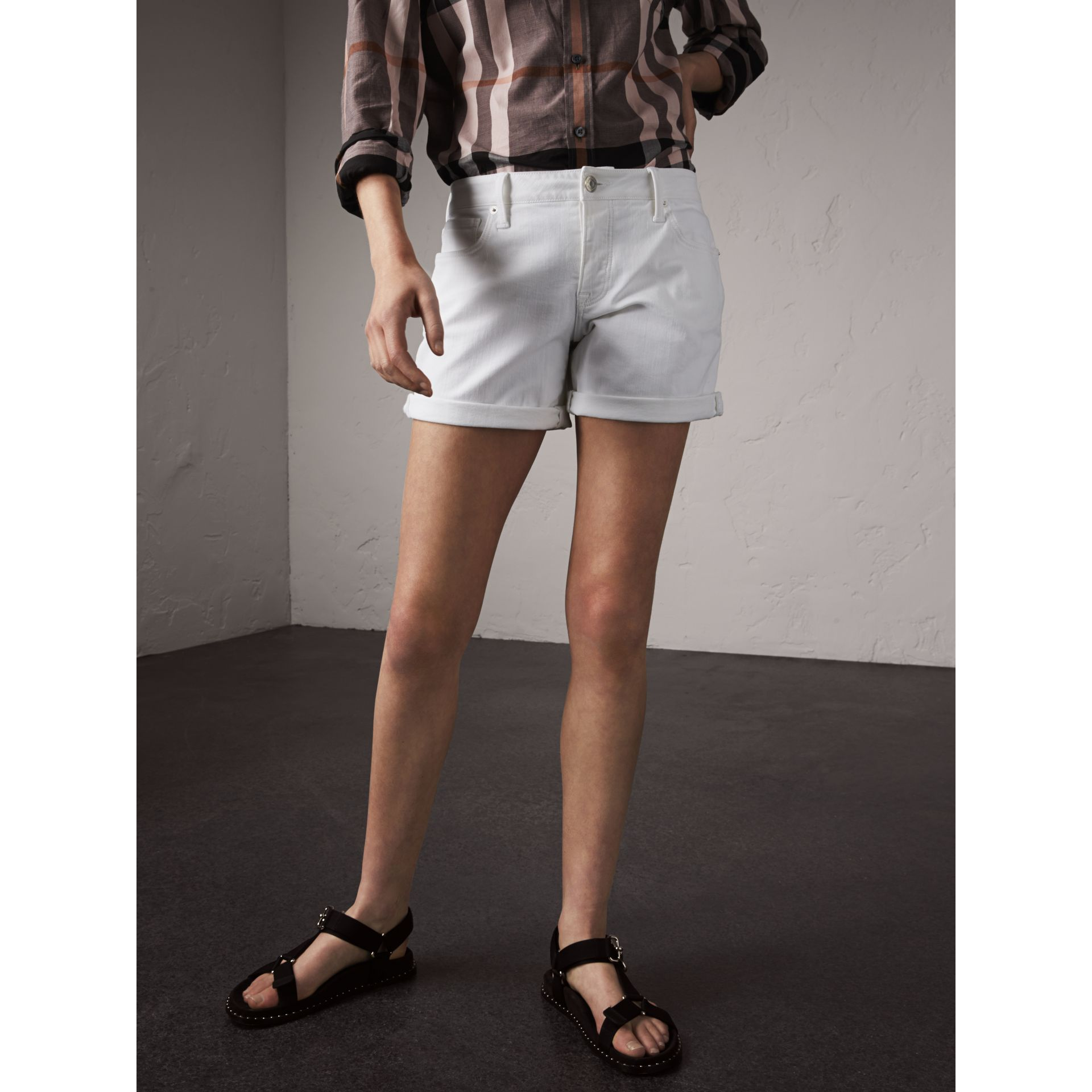 Low-rise Power-stretch Denim Shorts in White - Women | Burberry - gallery image 1