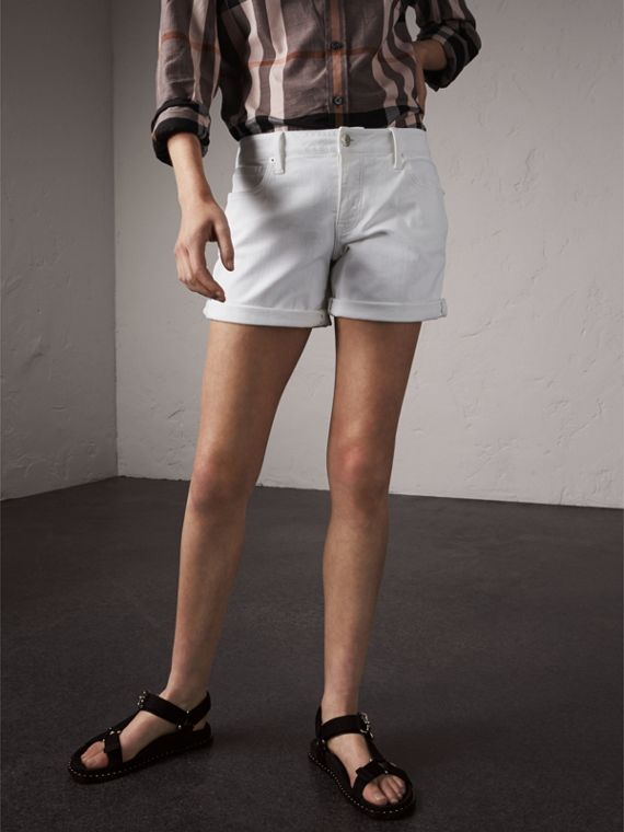 Low-rise Power-stretch Denim Shorts in White