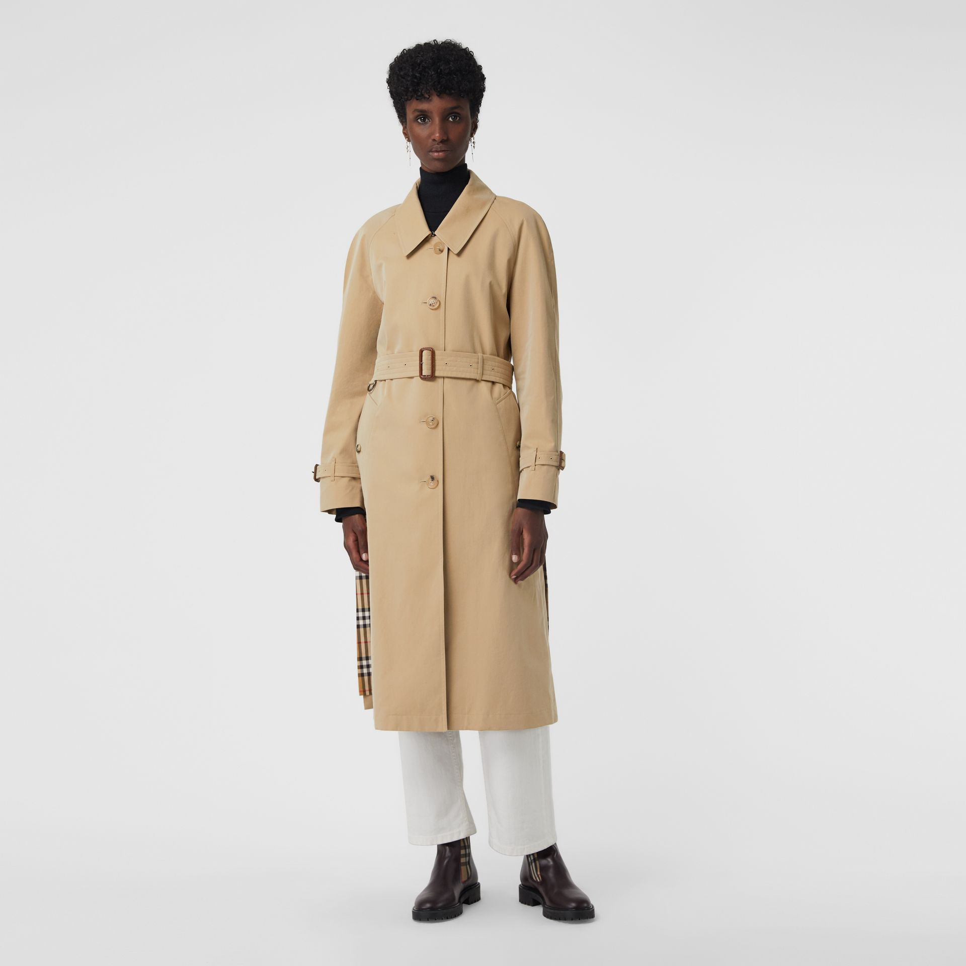 Side-slit Tropical Gabardine Trench Coat in Honey - Women | Burberry Canada - gallery image 7