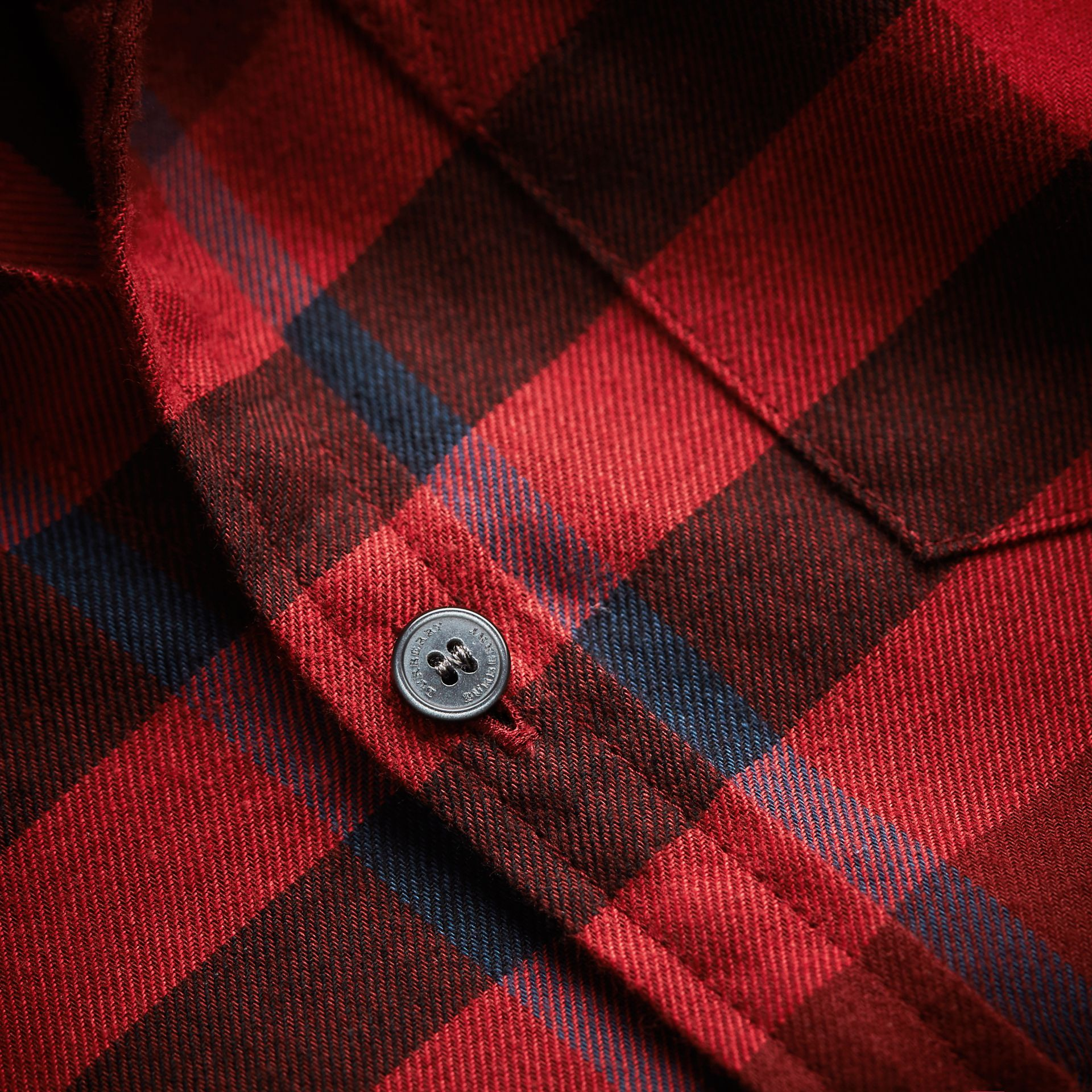 Check Cotton Flannel Button-Down Shirt in Mahogany Red - Boy | Burberry - gallery image 2