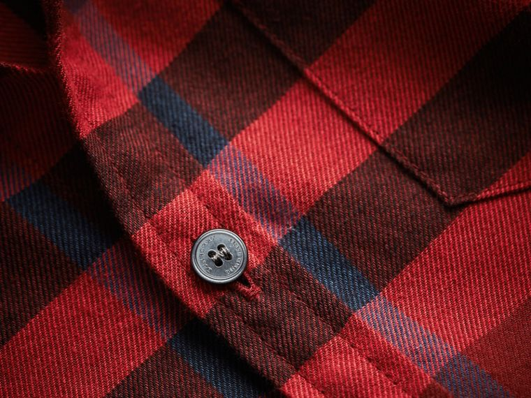 Check Cotton Flannel Button-Down Shirt in Mahogany Red - Boy | Burberry - cell image 1