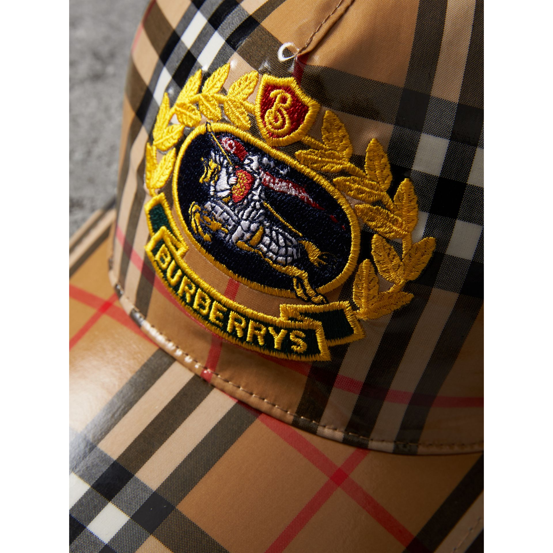 Archive Logo Coated Vintage Check Baseball Cap in Antique Yellow | Burberry Australia - gallery image 1