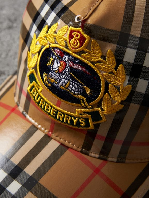Archive Logo Coated Vintage Check Baseball Cap in Antique Yellow | Burberry Singapore - cell image 1