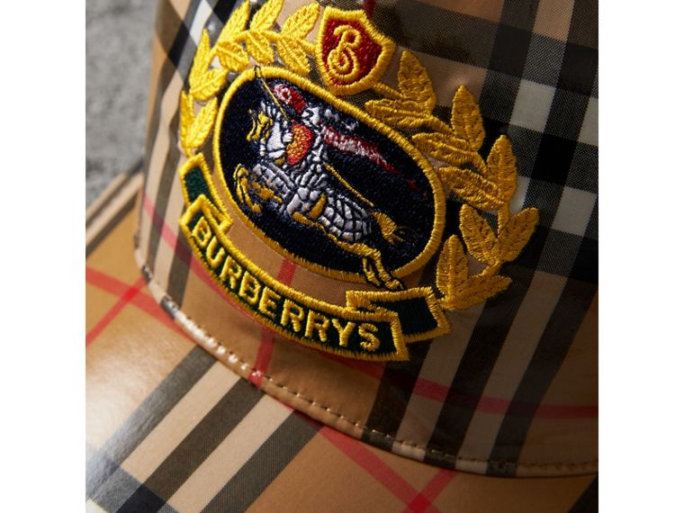 Archive Logo Coated Vintage Check Baseball Cap in Antique Yellow | Burberry - cell image 1