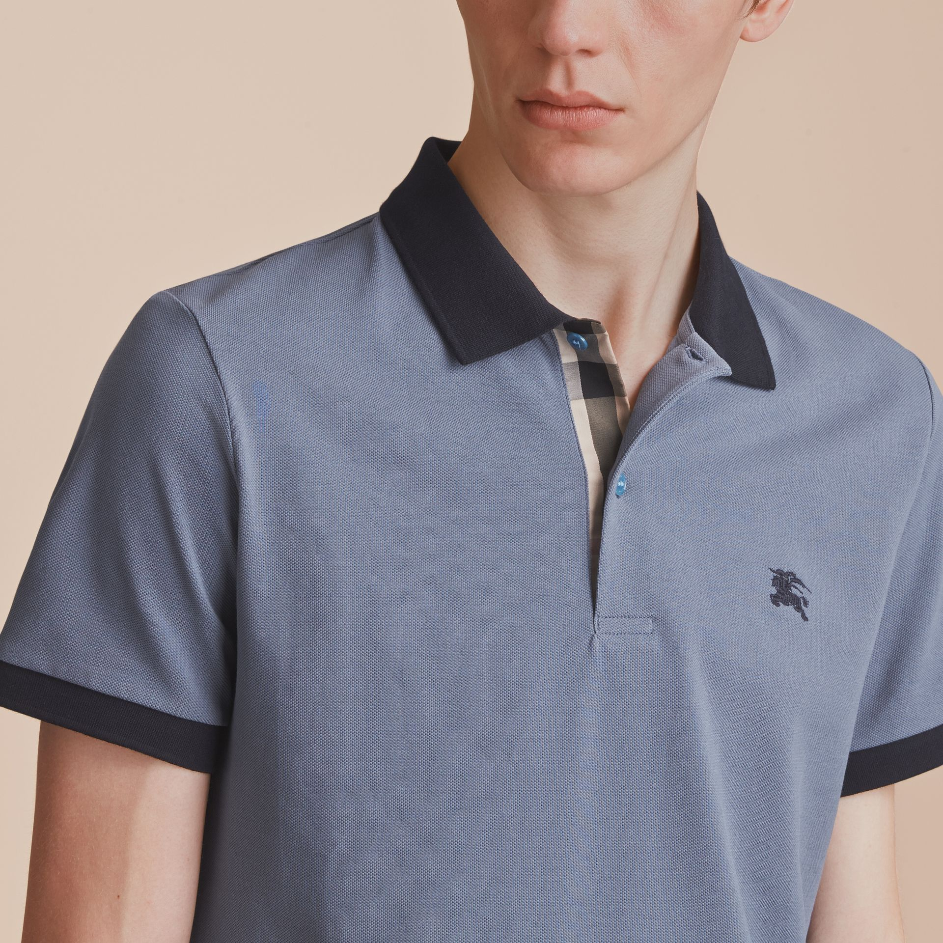 Two-tone Check Placket Cotton Piqué Polo Shirt in Stone Blue - Men | Burberry - gallery image 5