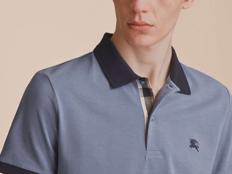 Two-tone Check Placket Cotton Piqué Polo Shirt in Stone Blue - Men | Burberry - cell image 4