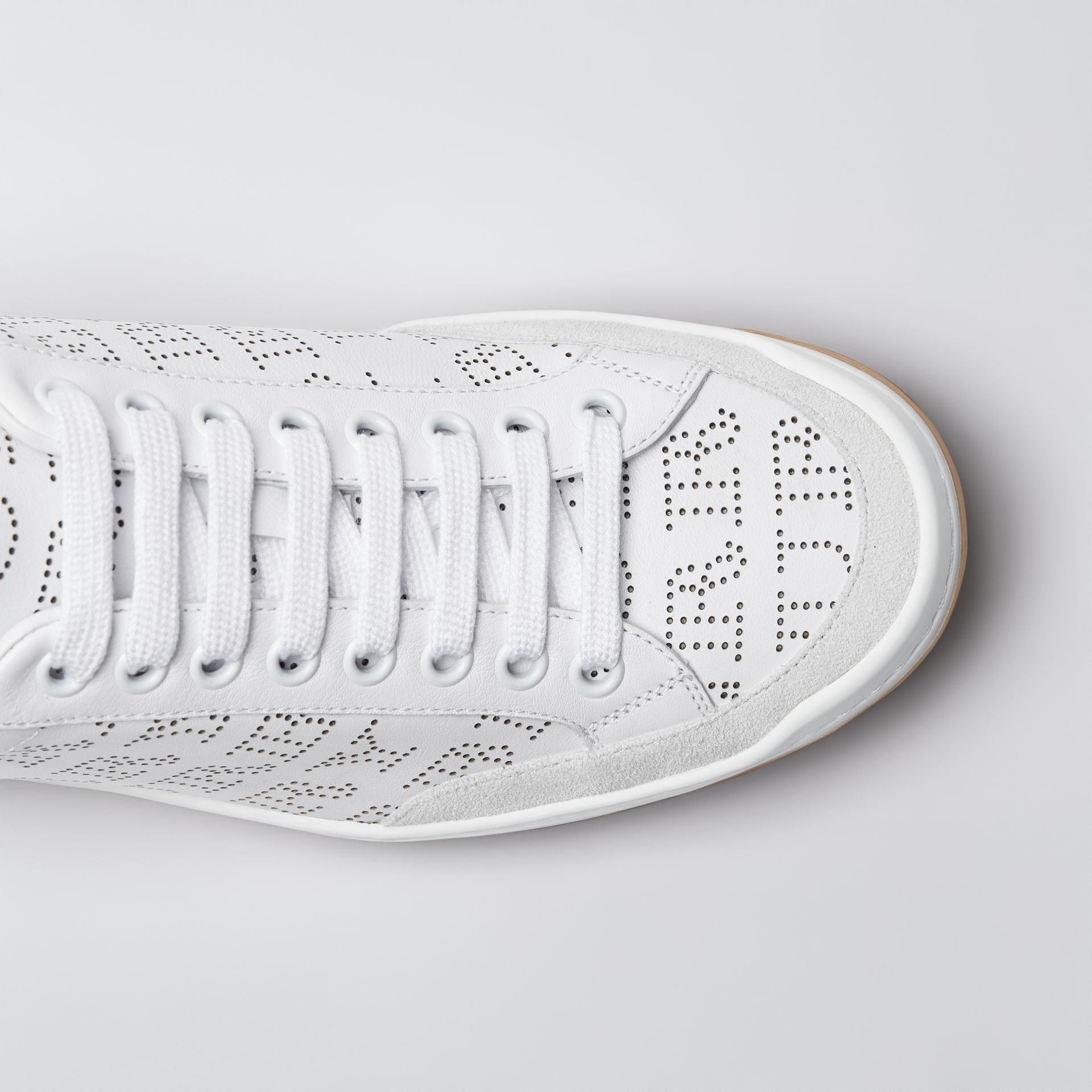 Perforated Logo Leather Sneakers in Optic White - Women | Burberry - gallery image 1