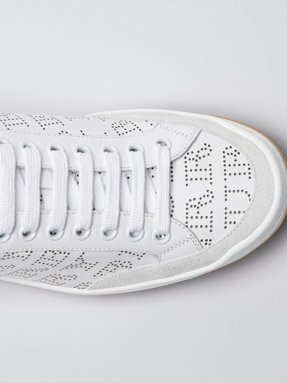 Perforated Logo Leather Sneakers in Optic White - Women | Burberry - cell image 1