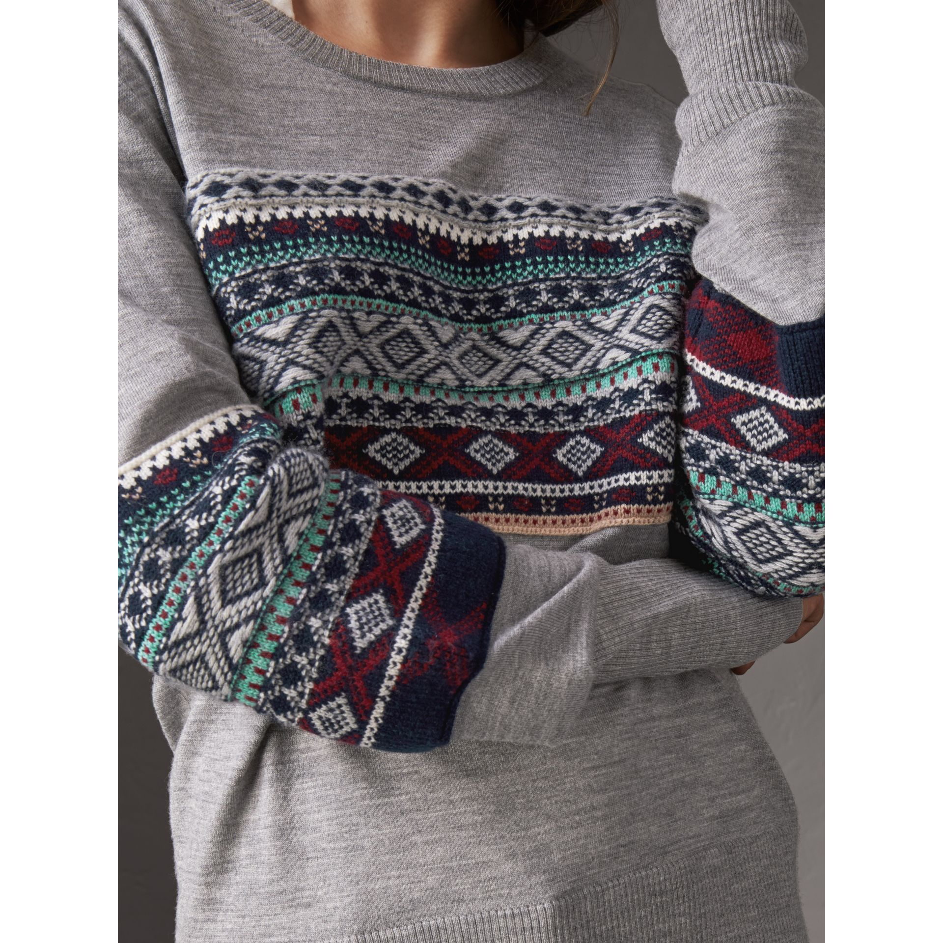 Fair Isle Detail Merino Wool Sweater in Mid Grey Melange - Women | Burberry United Kingdom - gallery image 1