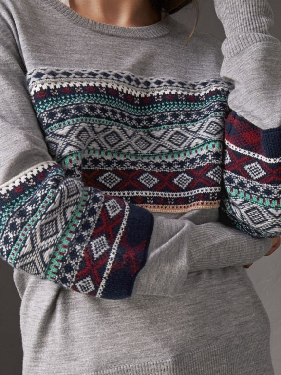 Fair Isle Detail Merino Wool Sweater in Mid Grey Melange - Women | Burberry - cell image 1