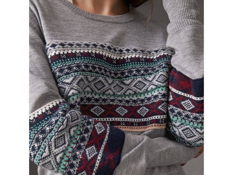 Fair Isle Detail Merino Wool Sweater in Mid Grey Melange - Women | Burberry United Kingdom - cell image 1